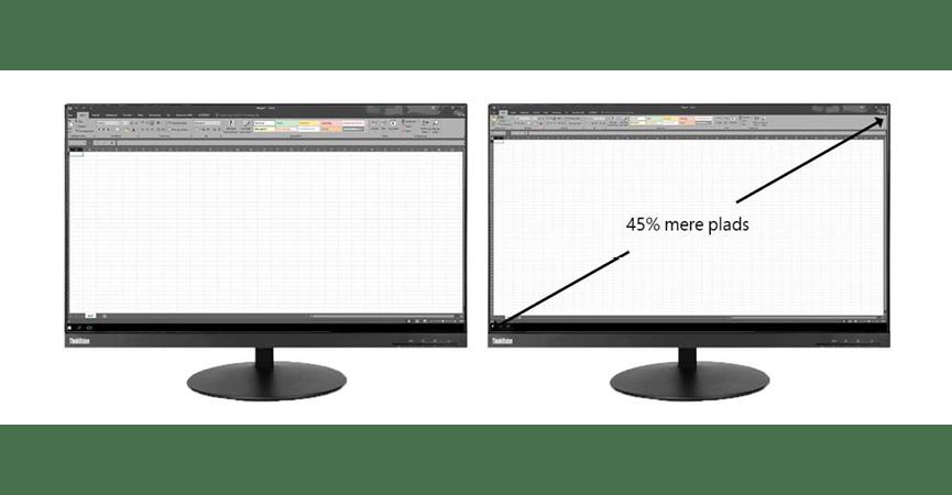 2 skærme hvor man kan se i Excel at der er 45% størelses forskel.
