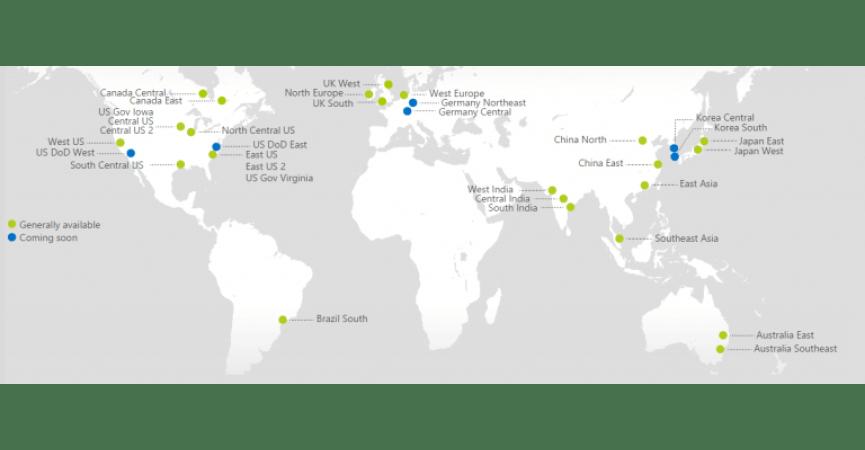 Et verdenskort der viser hvor alle servere i verdnen ligger og kommer til at ligge i den nærmeste fremtid (fra 2016)