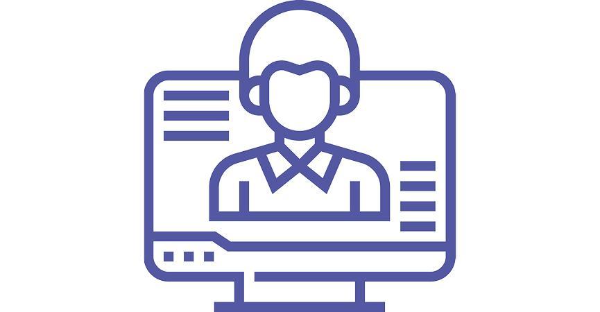 Et ikon der viser at man snakker med en person over Microsoft Teams
