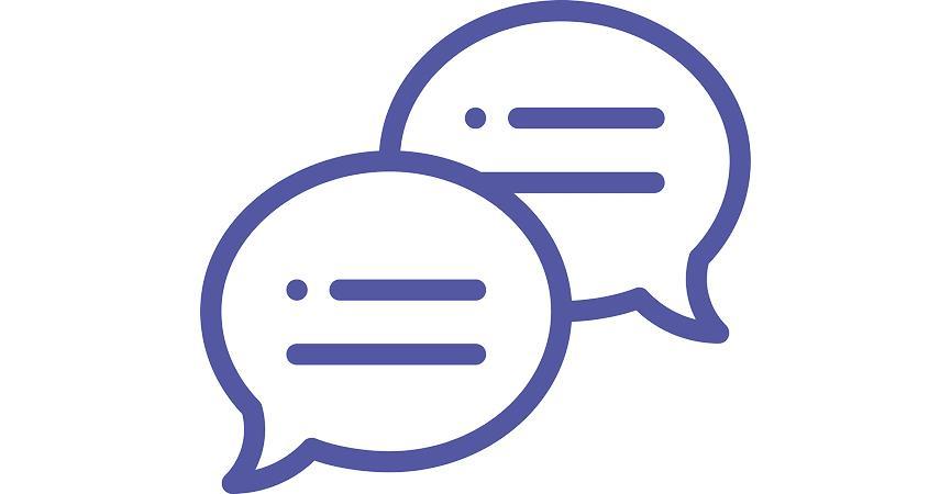 Et ikon der viser at man kan chatte med hinanden over Microsoft Teams