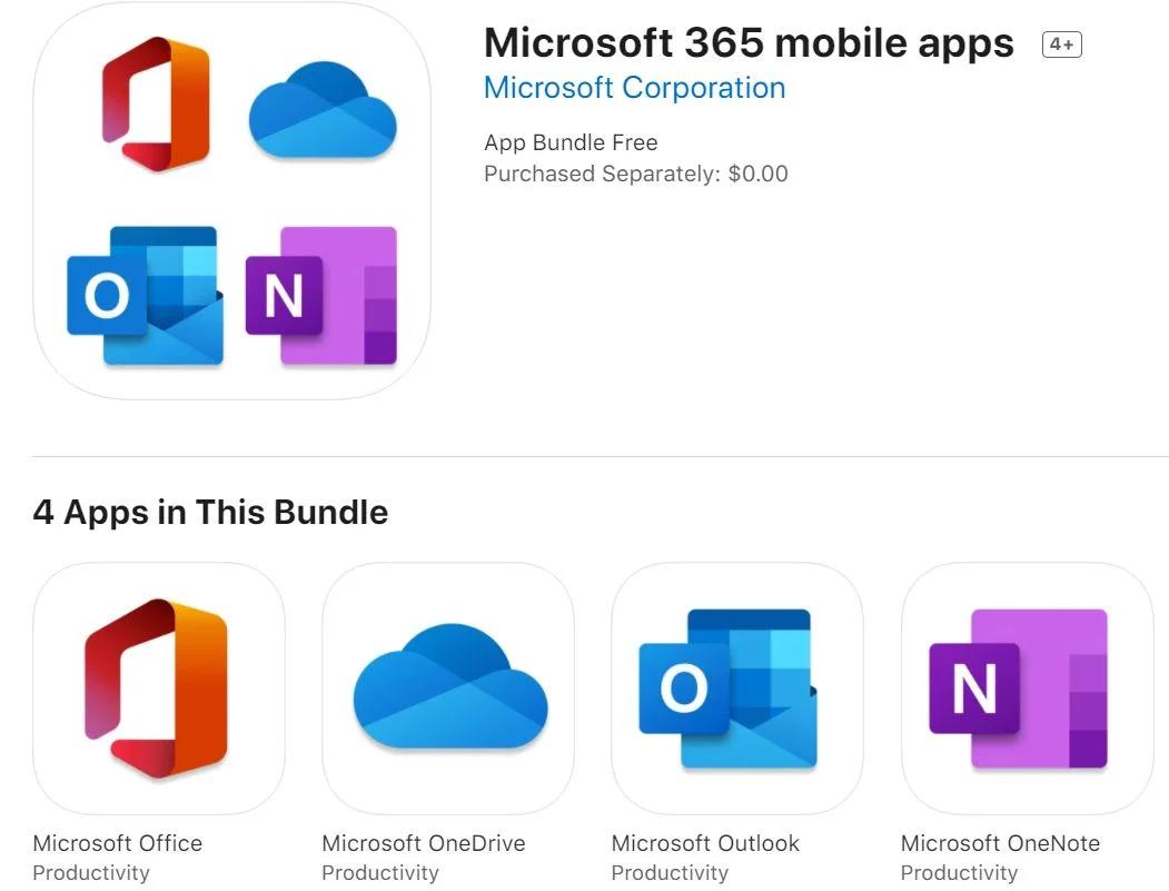 Mobile Microsoft 365 Apps i Apple Appstore