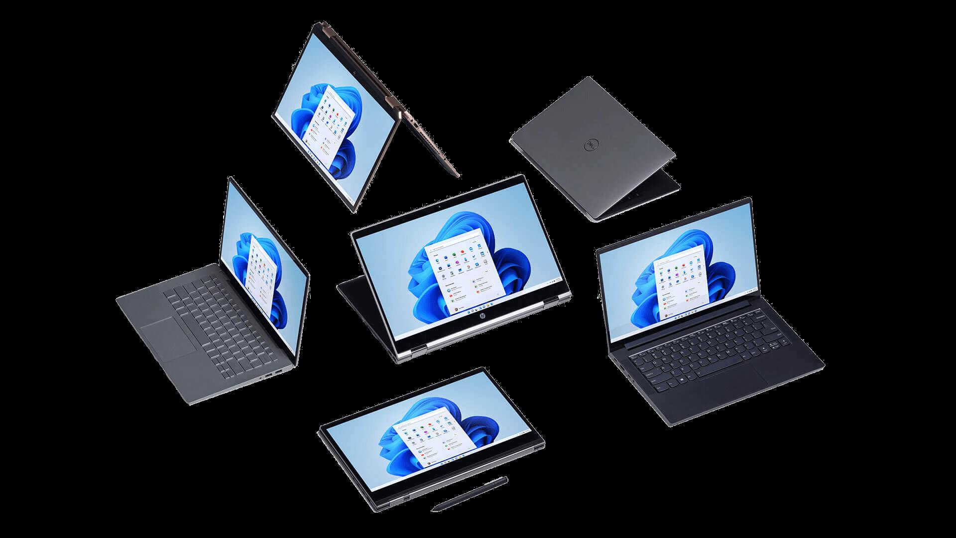 6 forskellige PC'er der alle er installeret med Windows 11
