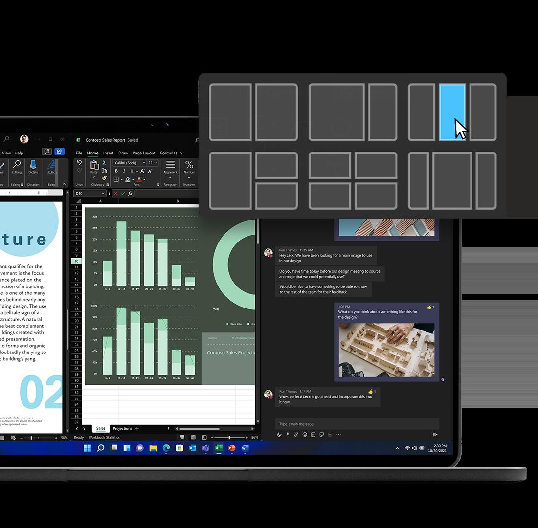 Her vises der hvor mange muligheder man har af layouts når man bruger Windows 11, til at øge effektiviteten