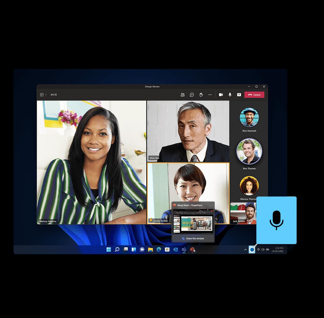 Her vises der hvordan man nemt kan mute, unmute og dele indhold og skærm med den integraret Teams funktion i den nye Windows 11