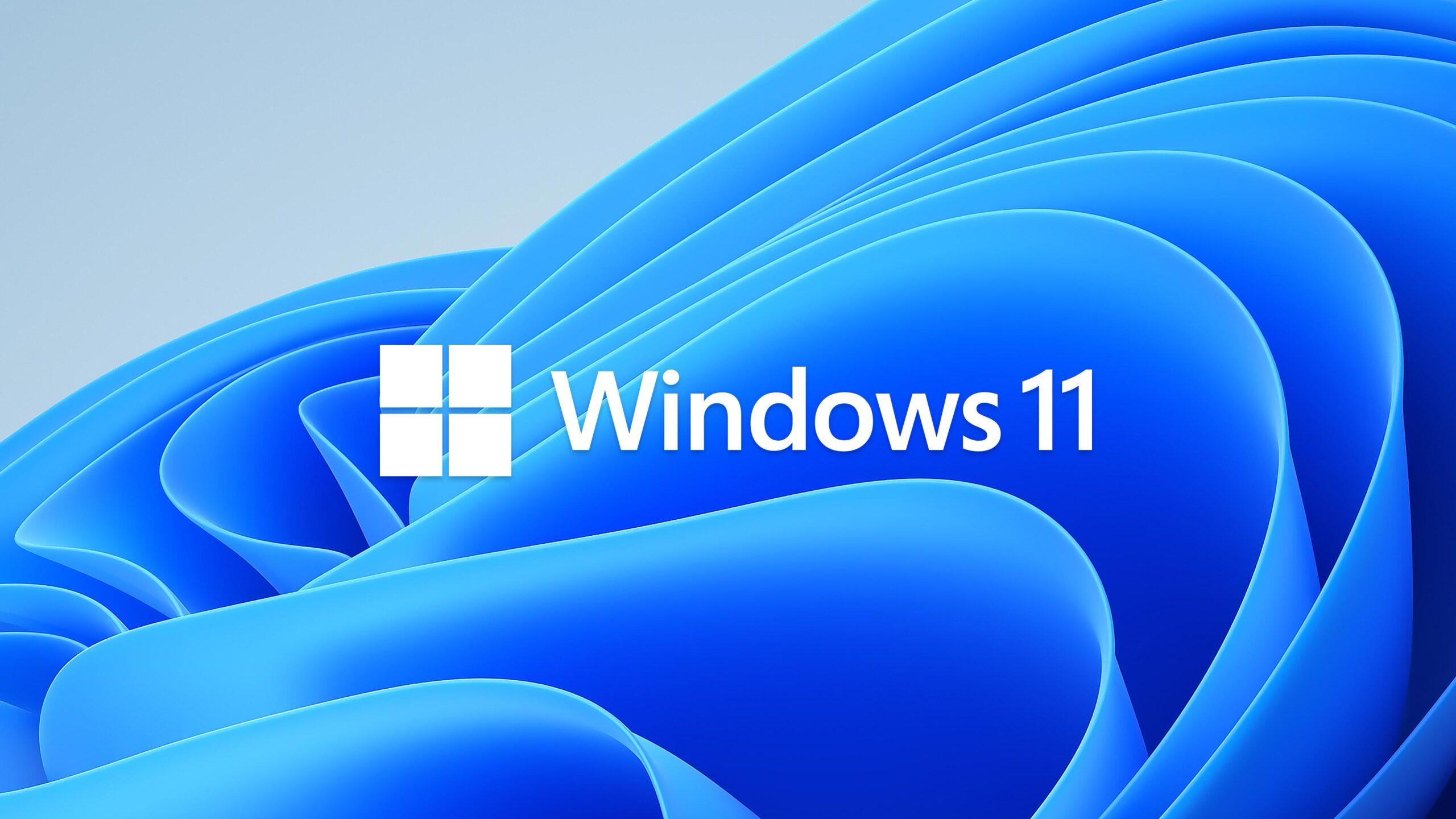 Header billede hvor der står Windows 11 på en blå baggrund