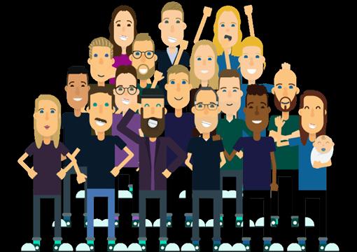En cartoon version af HelpHouse's ansatte